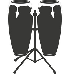 Black flat silhouette of a hand drum or a kong vector