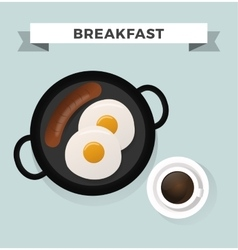 Breakfast flat top view set icons silhouette vector image