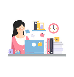 brunette businesswoman character sitting at the vector image