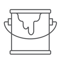 Bucket of paint thin line icon paint container vector
