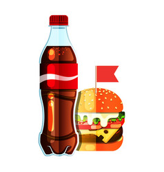 burger and soda vector image