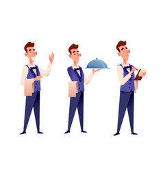 cartoon waiter at restaurant with champagne vector image