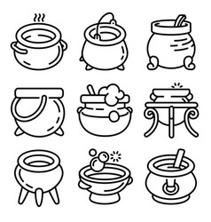 Cauldron icons set outline style vector
