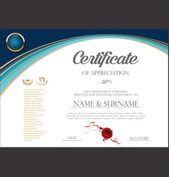 Certificate or diploma retro design template 00667 vector