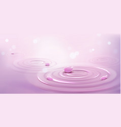 circles on water and pink flower petals waves vector image