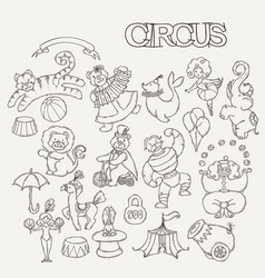 Circus cartoon icons collection with chapiteau vector