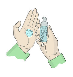 Close-up hand using small hand sanitizer gel pump vector