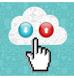 Cloud computing button and cursor hand vector image