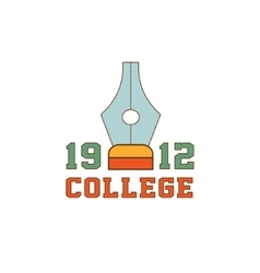 College Pen And Text Logo vector