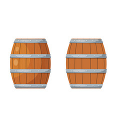 Color image a wooden barrel on a white vector