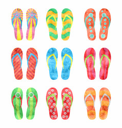 colorful flip flops set in watercolor vector image