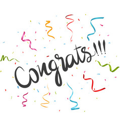 congratulations text with confetti vector image