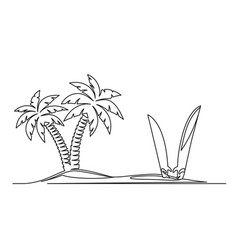 continuous one line drawing an island with vector image