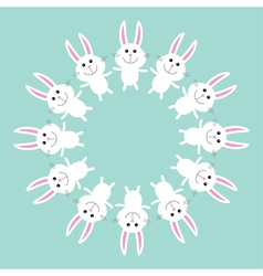 Cute bunny rabbit Round frame Flat design vector image
