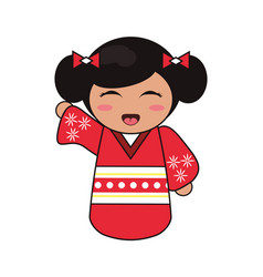 cute kokeshi doll tradition japanese vector image