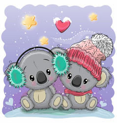 Cute winter with two koalas vector