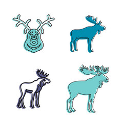 deer icon set color outline style vector image