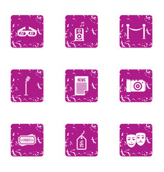 Demo icons set grunge style vector