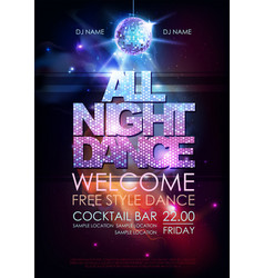 Disco ball background disco all night dance party vector