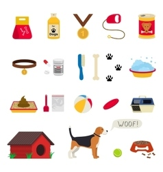 Dog care object set items and stuff vector image