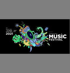 Doodle banner and poster world music day vector