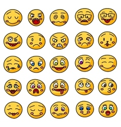 Emoji or emoticons hand drawn icons vector image