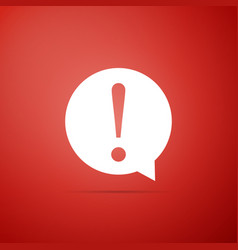 exclamation mark in circle icon on red background vector image