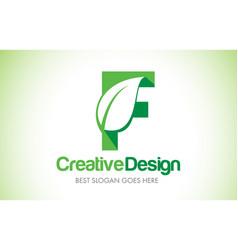 f green leaf letter design logo eco bio leaf vector image