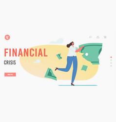 Financial crisis landing page template lose money vector