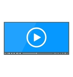 Flat clean video player for web vector image