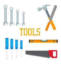 flat tools hammer screwdriver saw chisel wrench vector image vector image