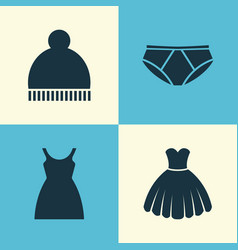 Garment icons set collection beanie dress vector