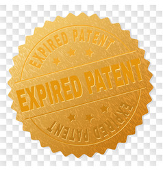 Golden expired patent medallion stamp vector