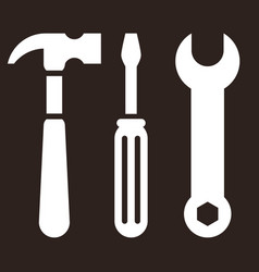 hammer screwdriver and wrench tools icon vector image