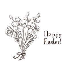 hand drawn black and white easter gift card with vector image