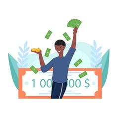 Happy male lottery winner is holding million vector