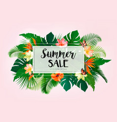 hot summer sale background with exotic leaves vector image