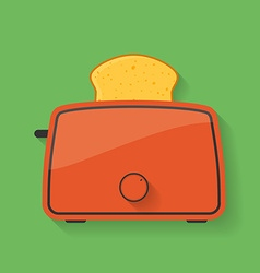 Icon of kitchen appliance - toaster with slice of vector