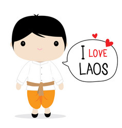 Laos men national dress cartoon vector