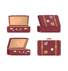 Leather vintage suitcases open closed briefcases vector
