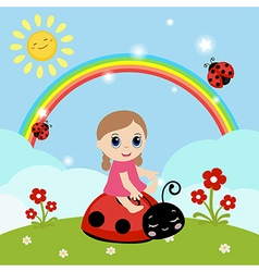 Little girl sitting on a ladybug vector
