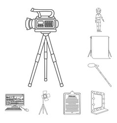 making a movie outline icons in set collection for vector image