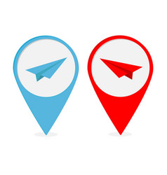 map pointer with origami paper plane icon set red vector image