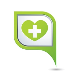 medical icon on green map pointer vector image vector image