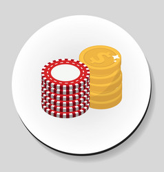 Money and chips stack sticker icon flat style vector