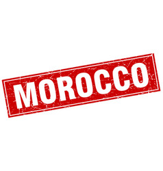 Morocco red square grunge vintage isolated stamp vector