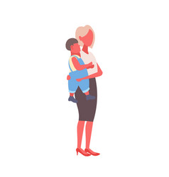 mother holding little son woman embracing baboy vector image