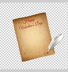 Old grungy parchment paper and white quill pen vector