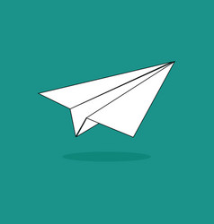 paper plane design on green background vector image