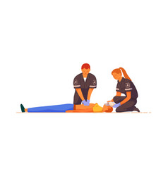 Paramedic giving indirect heart massage to patient vector